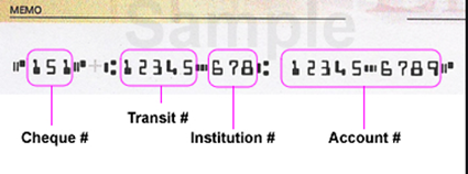 Cheque example showing cheque number, transit number, institution number and account number
